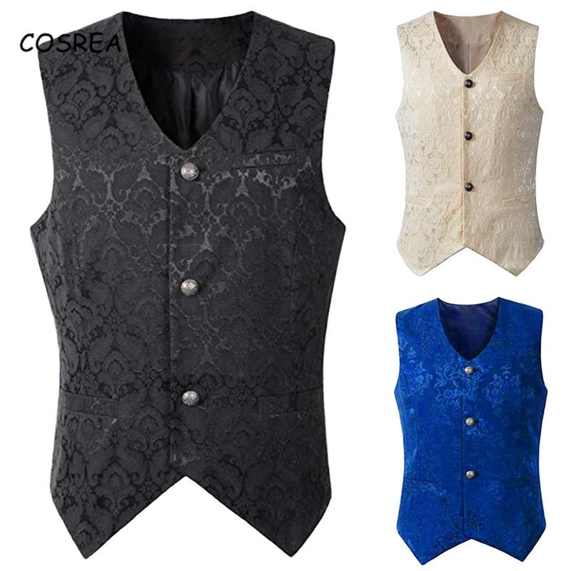 Medieval Retro Men Jackets Coat Vest Waistcoat Jacquard Blue Black White Sleeveless Cosplay Costumes