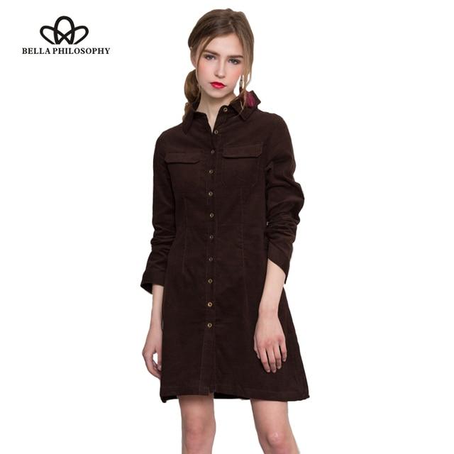 8fee356271e Bella Philosophy 2017 spring autumn new solid corduroy cotton slim women  long shirt dress