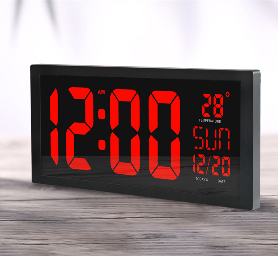 Electronic led wall clock with thermometer large screen digital electronic led wall clock with thermometer large screen digital clock memory function clock living room decoration wall clock in wall clocks from home amipublicfo Image collections
