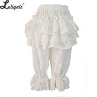 Sweet White Jaquard Lolita Bloomers Lace Ruffled Cotton Safety Short Pants