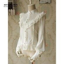 2017 Customize for adults and kids  Free shipping White Lolita Blouse Shirt  Ruched Chiffon Lace Shirt
