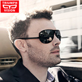 TRIUMPH VISION Rimless One-Piece Windproof Sunglasses Men Polarized Driver Driving Sun Glasses For Men Black Oculos Shades Male