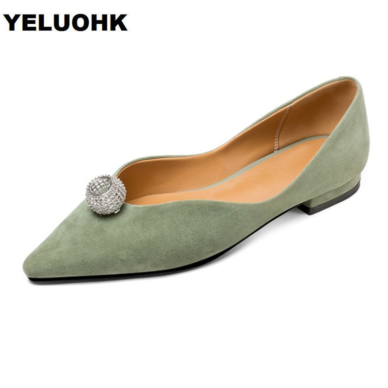 2018 Brand Spring Pointed Toe Ladies Shoes Women Flats With Crystal Slip On Shoes Woman Casual Loafers Women brand fedimiro spring oxford shoes women patent leather pointed toe slip on flat loafers casual metal buckles ladies flats