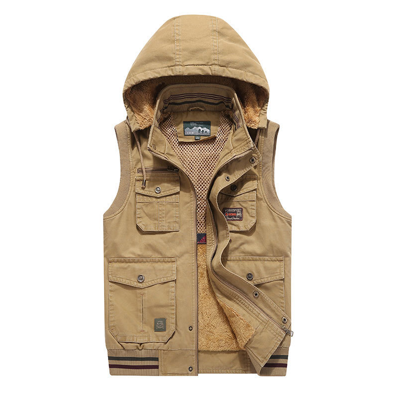 Clever Plus Size Sleeveless Fleece Jackets Cotton Vest Waistcoats 6xl 7xl 8xl 9xl Hooded Collar Casual Cargo Military Tanks Business Elegant In Smell