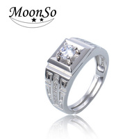 Hot Sale High Quality CZ Diamond 925 Sterling Silver Rings For Men Wedding Engagement Jewelry Ring