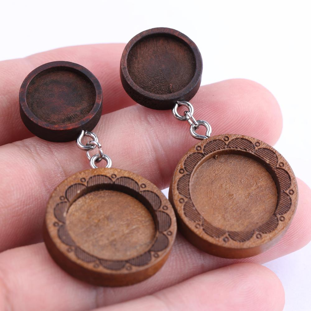 Onwear 10pcs Fit 12mm 16mm Flower Cabochon Base Settings Wood Stud Earring Bezel Blanks Diy Wooden Earrings Jewelry Findings