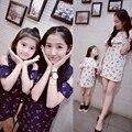 Летом стиль мать дочь платья хлопка моды вишня печати мама и дочь платье розничная семьи clothing