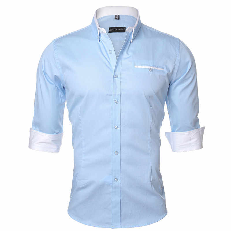 VISADA JAUNA 男性シャツ 2017 無地ビジネスドレスカジュアルブランド服長袖カミーサソーシャル Masculina 5XL N461