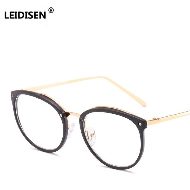 40c7f4dd6e5 LEIDISEN High Quality Frame Fashion Glasses Women Eyeglasses frame Vintage  Men Round Clear Lens Glasses Brand Designer UV400
