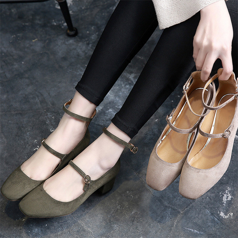 2017 New Spring Mary Jane Brand Women Retro Square Toe Dress Shoes For Lady Hasp Fashion Mid Heel Casual Shallow Beige Sandal mary sterling jane algebra ii essentials for dummies