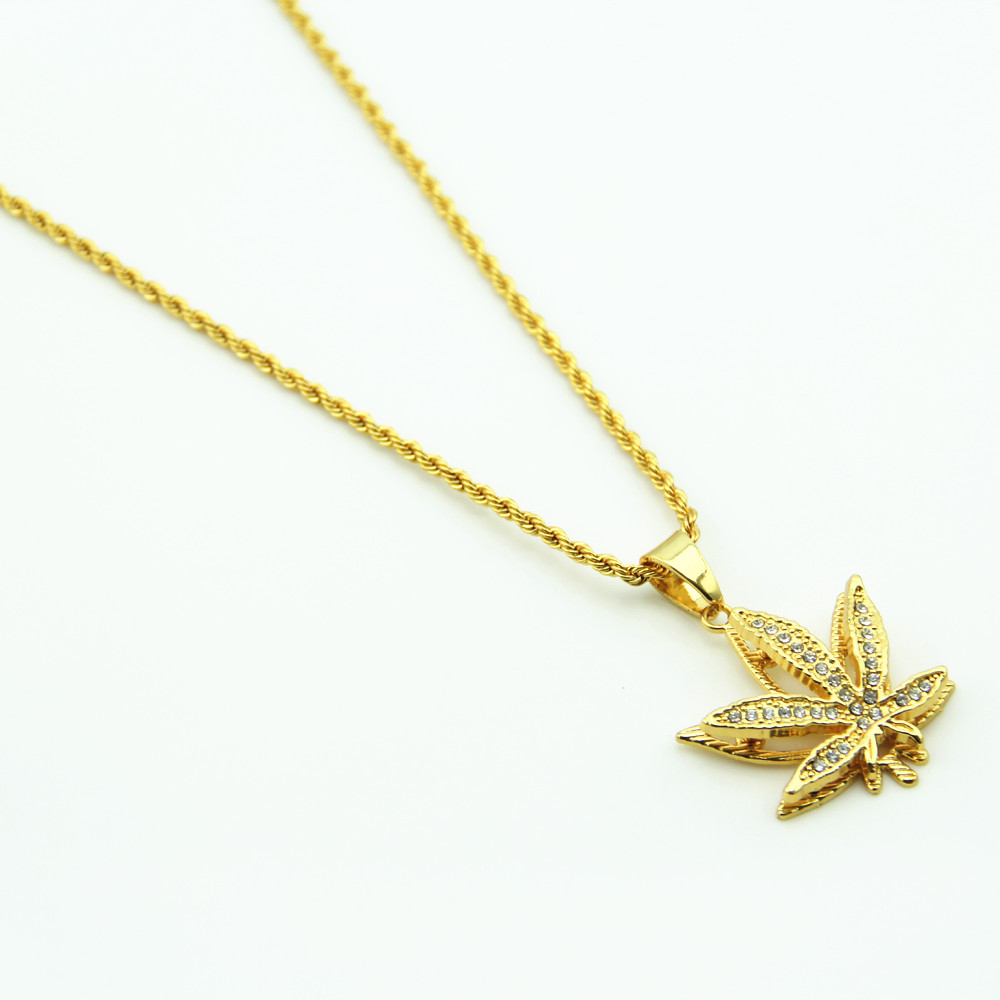 New Iced Out Weed HipHop Necklace & Pendant Maple Leaf Pendant Long Gold Chains Hip Hop Bling Necklace image