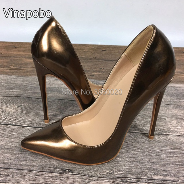 b2cc1acc774 Vinapobo Women Sexy Gold Patent Leather Pointed Toe Party Shoes Stiletto  High Heels Slip-on Shallow Dress Pumps Wedding Shoes