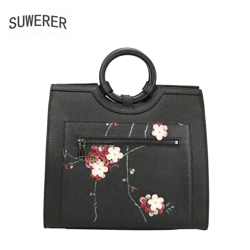 SUWERER 2018 New women genuine leather bags flowers women bag fashion famous brand designer Luxury women handbags цены