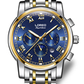 LOREO Germany watches men luxury brand automatic self-wind moon Phase sapphire luminous gold stainless steel relogio masculino