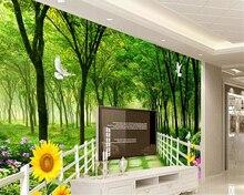 beibehang papier peint mural 3d Custom sticker wallpaper green home decor background for kids room