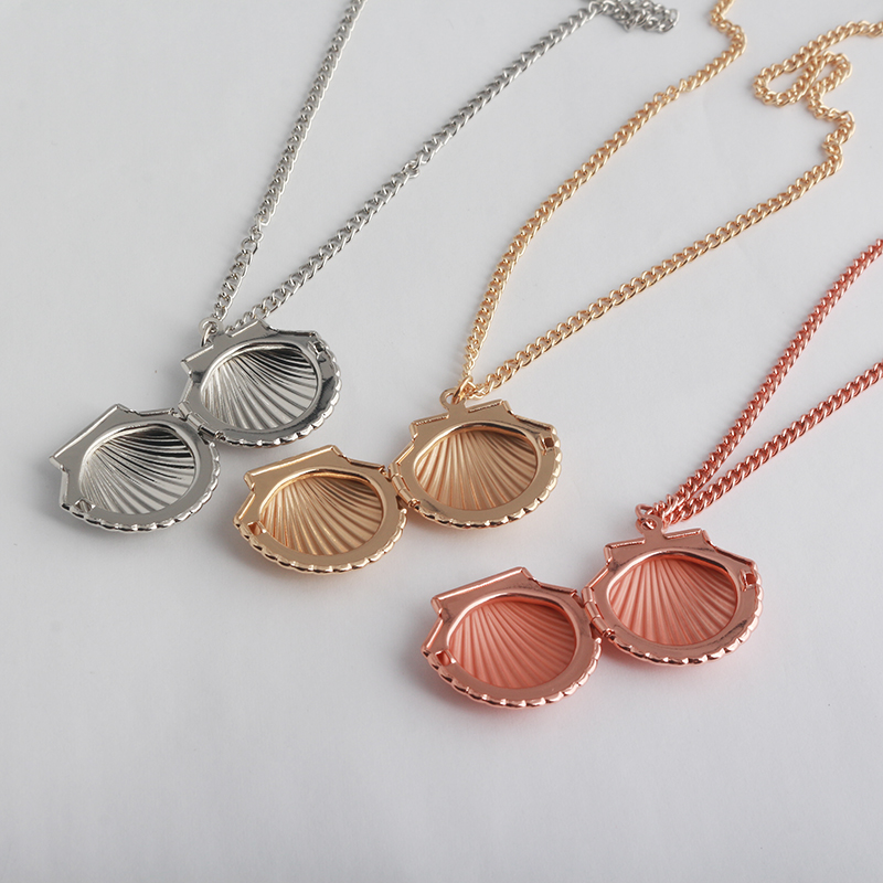 RJ Newest Fashion Rose Gold Silver Creative Shell Necklaces Pendants Can Opened&Closeed Mermaid Shell Women Girl Gift Choker