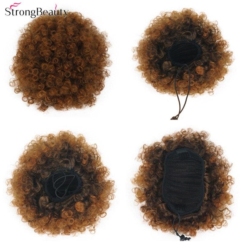 Rabo de Cavalo Strongbeauty Afro Coque Chignon Cabelo Sintético Kinky Curly Clipe Sopro no Cordão Preto Mulheres