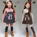 1.5 2 3 4 6 anos meninas conjunto roupa de crianças de lã quente engrosse roupas de outono set 2 pcs dress + calças