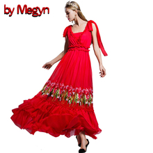 by Megyn 2019 ruffle floral embroidery  long dress red sexy v-neck sleeveless elegant party maxi chiffon dress red black 2XL ruffle neck floral sleeveless dress