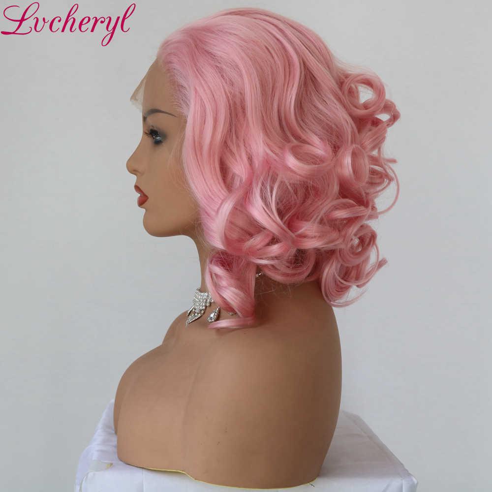 Lvcheryl ручная завязанная трендовая кудрявая сексуальная розовая высокая плотность термостойкие вечерние парики из синтетического кружева для женщин