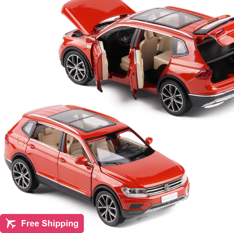 New 1/32 VW Volkswagen Tiguan L Diecast Metal SUV Alloy Car Model For Kids Christmas Gifts Collection Original Box Free Shipping