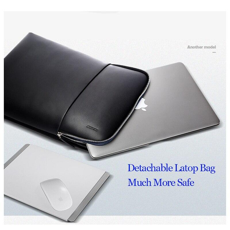 BOPAI grande capacité hommes voyage sacs détachable 15.6 pouces sac à dos pour ordinateur portable avec sac à Main pour hommes d'affaires voyage en cuir sac à dos - 5