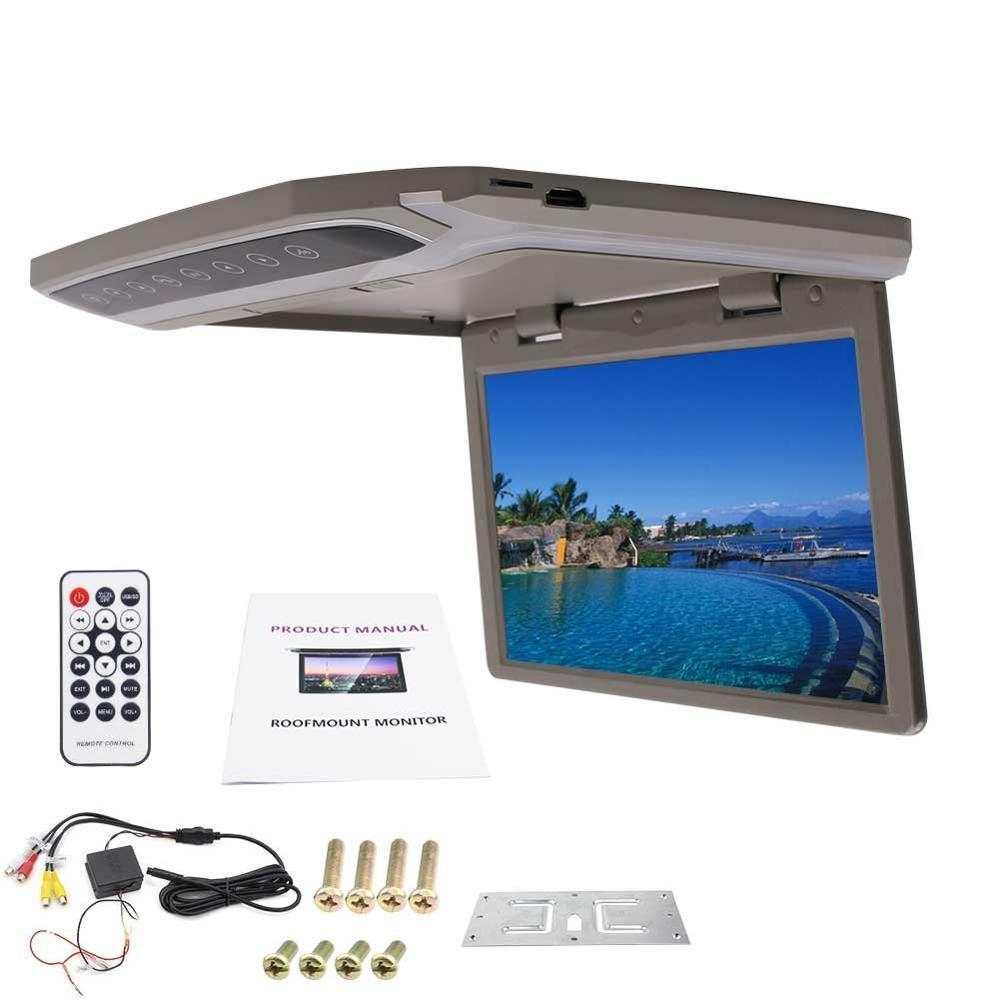 Car Roof Mount Display Overhead Monitor with 1080P Digital Wide Screen Player Monitor built-in FM Video input Wireless Remote headrest pillow 2pcs lcd screen digital car monitor dvd player usb ir fm transmitter pillow monitor video player 2 ir headphones