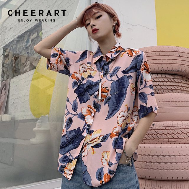 668e48a2f445d Cheerart Harajuku Floral Blouse Women Summer Top 2019 Button Up Loose Shirt  Short Sleeve Blouses Streetwear Clothes