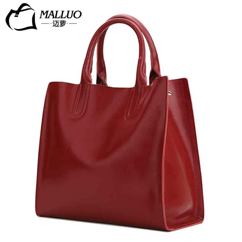 MALLUO Genuine Leather Handbags Natural Leather Shoulder Satchel Bag Lady Contracted Large Capacity Luxury Women Bags