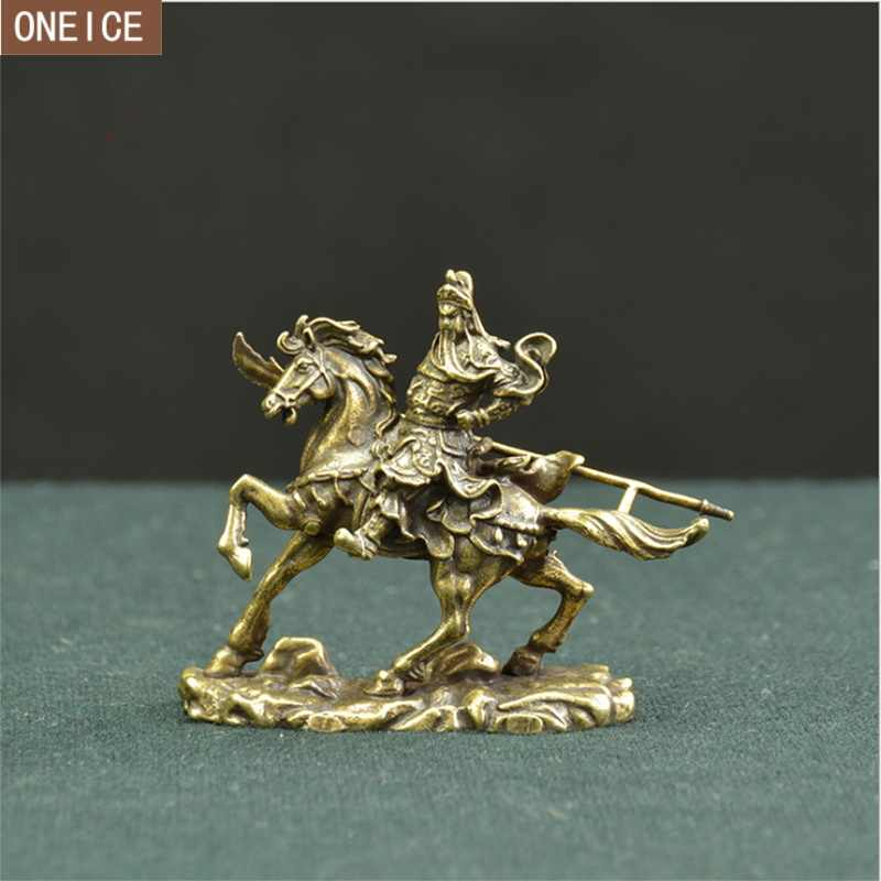 Chinese Guan Gong horse riding bronze statue pure copper home decoration crafts mini Guan Yu statue free delivery