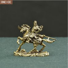 Chinese Guan Gong horse riding bronze statue pure copper home decoration crafts mini Guan Yu statue free delivery(China)