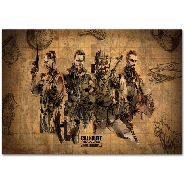 A412 Hot Black Ops 3 Zombies Chronicles Game Top A4 Art Silk Poster Light  Canvas Painting
