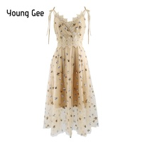 Young Gee Black Sexy Party Dress 2018 Star Sequin Flock Cute Women Mesh Overlay Midi Summer Spaghetti Strap Cut Out Lace Dresses