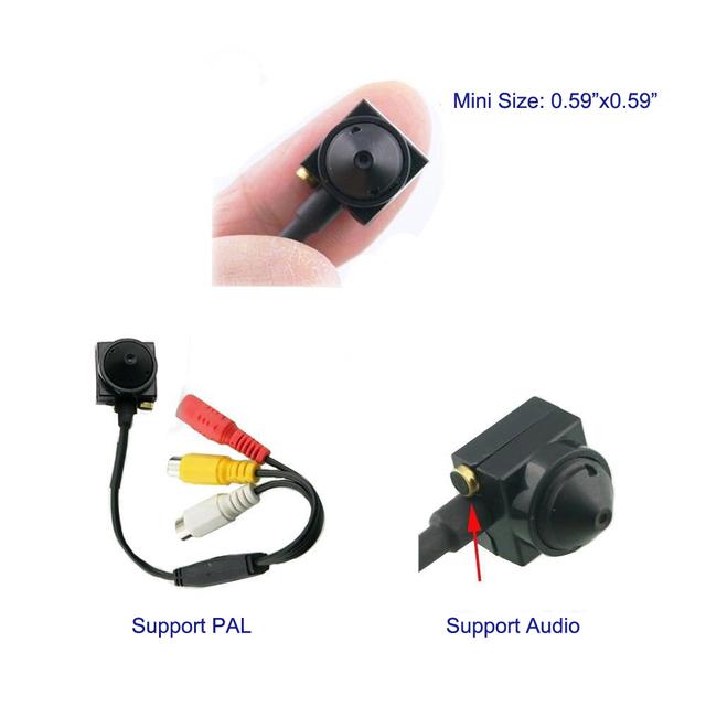 Podofo 600TV 170 degree super small color video camera with audio Line HD Tiny Mini Security CCTV Pin Hole Camera