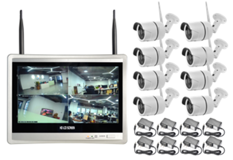 Wireless Security Camera System 8CH CCTV NVR Kit 1080P 8pcs outdoor bullet IP camera HDMI 12.5ch Screen NVR home security