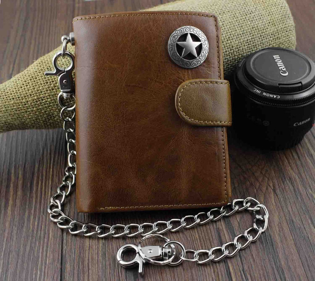 b08c77aec5a3 Men's Cool Genuine Leather Biker Texas Star Zipper Card /Money Chain wallet  Purse W222
