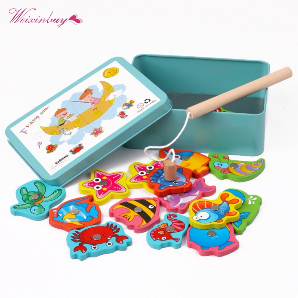 2019 Children Baby Educational Toy Iron Box Fishing Wooden Game Set Novelty Toys Cognition Magnetic Toys Set Kids Gifts