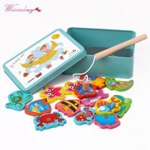 2019 Children Baby Educational Toy Iron Box Fishing Wooden Game Set Novelty Toys Cognition Magnetic Toys Set Kids Gifts early educational toys wooden toys 32 piece set magnetic fishing game table game for children kids