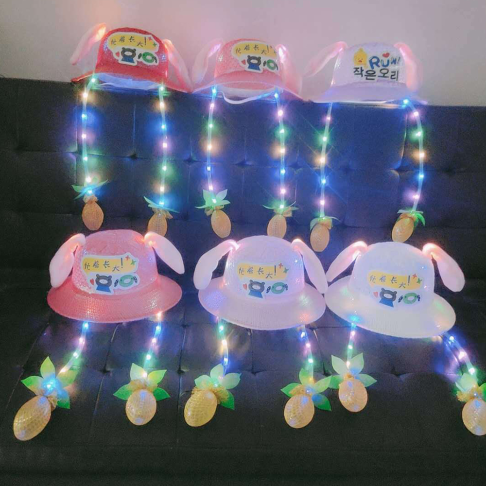 Kids Baby Cute Bunny Fisherman Hat Girls Funny New Luminous Rabbit Ears Straw Hats Toy Moving Ear Up Down Sun Hat Pattern Random