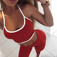 цены FGHGF Women Fitness Red 2 piece yoga sets women fitness plus gym clothes sport suit Running Tracksuit vest+Pants leggings