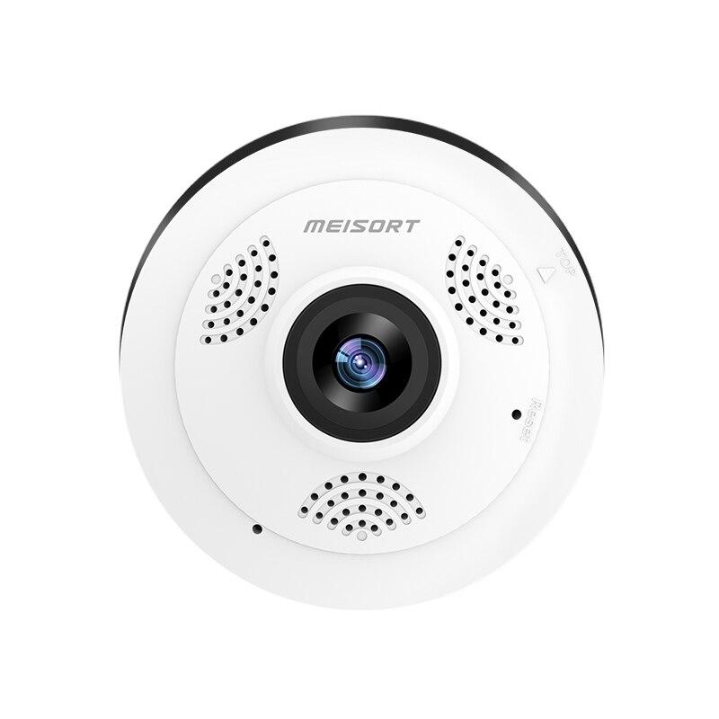 Meisort fisheye panorámica de 360 grados cámara ip de red inalámbrica wifi HD video motion alerta mini cámara de seguridad cctv