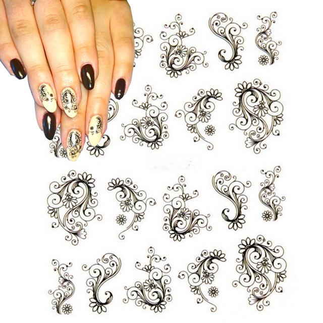 1 folha de Moda Flor Nail Stickers Transferência de Água Decalques Folhas Polonês DIY Nail Art Ferramentas Unhas Beleza Acessórios SABLE891