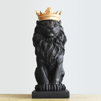 Black Creative Resin Lion King Figurines Home Decor Crafts Room Decoration Objects Vintage Ornament Resin Animal Figurines Gifts