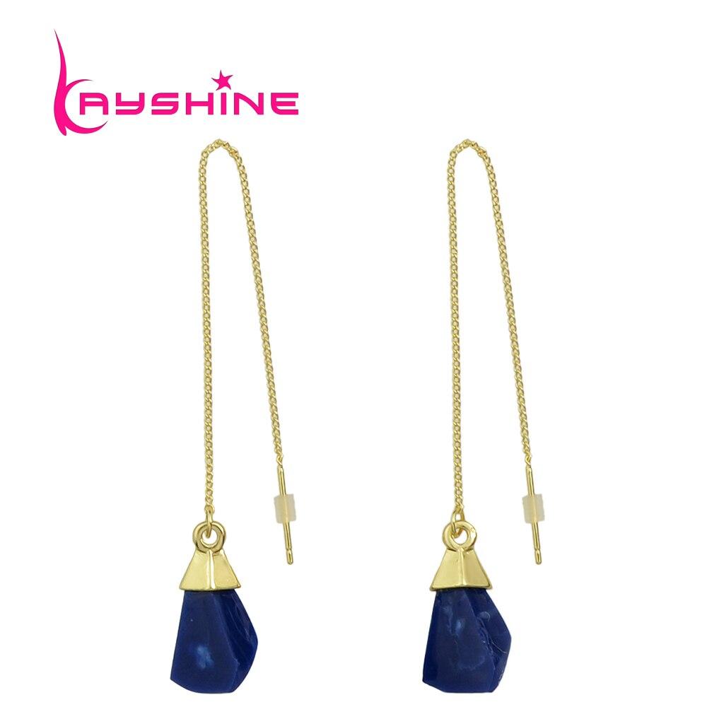 Kayshine Long Line Chain Drop Dangle Earrings With Stone