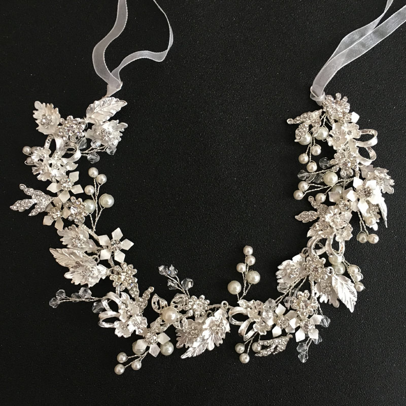 SLBRIDAL Silver Wired Clear Crystal Rhinestones Leaf Wedding Hair accessories Hairband Bridal Headband Bridesmaids Jewelry Women 1pc fashion sexy women lady leaf hair band rope headband elastic ponytail holder party vacation hairband hair accessories