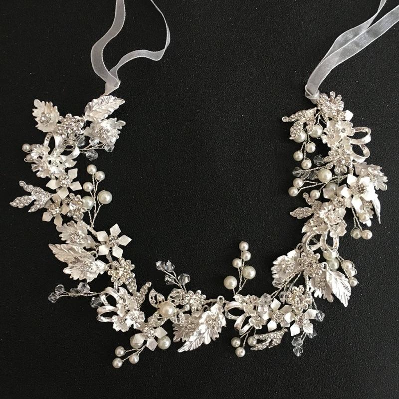 SLBRIDAL Silver Wired Clear Crystal Rhinestones Leaf Wedding Hair accessories Hairband Bridal Headband Bridesmaids Jewelry Women недорого