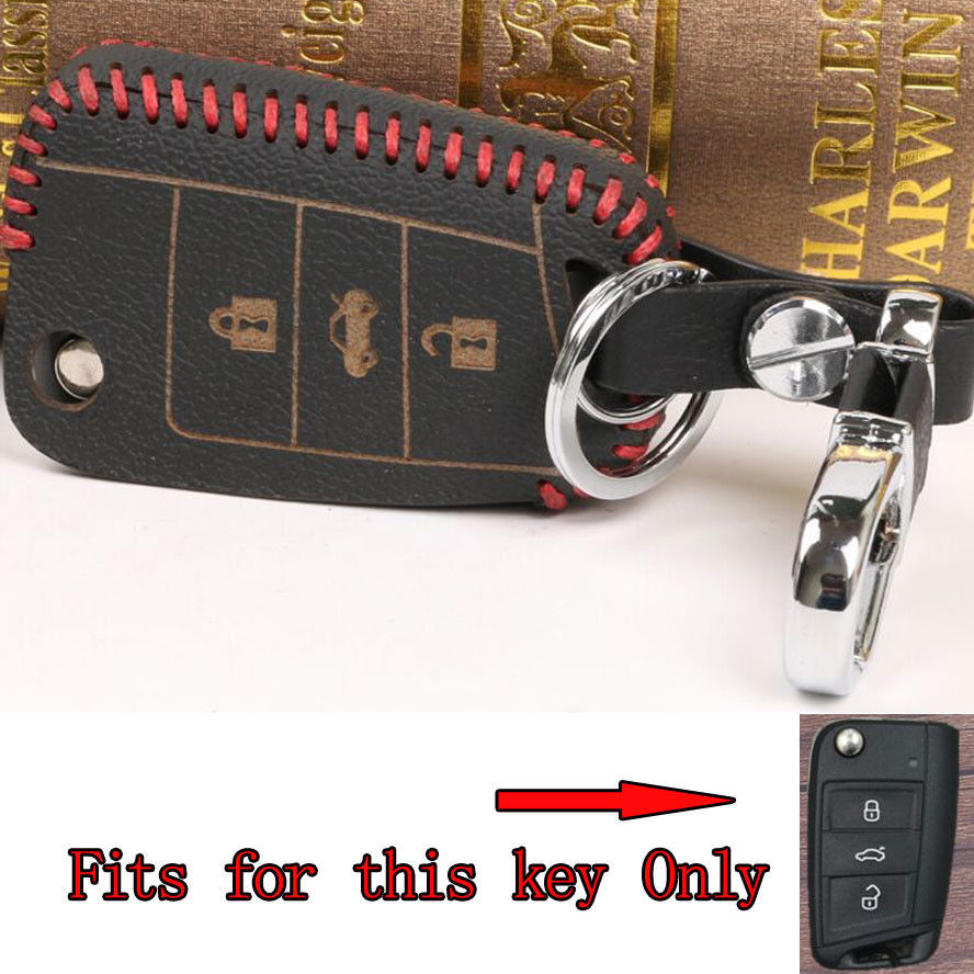 Leather Remote Key Fob Holder Cover Shell Bag Fit For VW Octavia Fabia Superb Yeti Rapid Scout