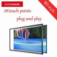 Большие размеры 80 дюймов инфракрасный сенсорный экран рамка multi touch 10 точек касания