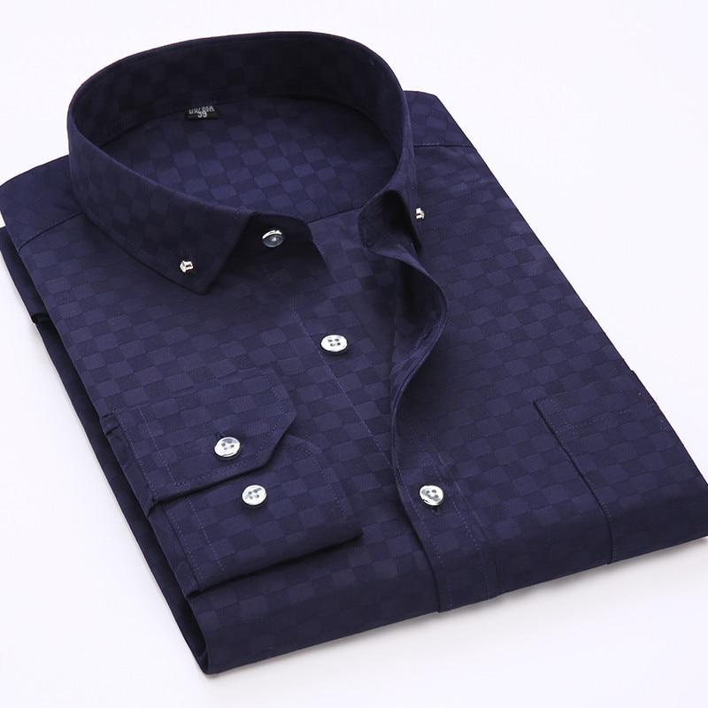 百思买 ) }}2017 New Men Long Sleeve Shirt Fashion Luxury Casual Shirt Slim Fit Plaid