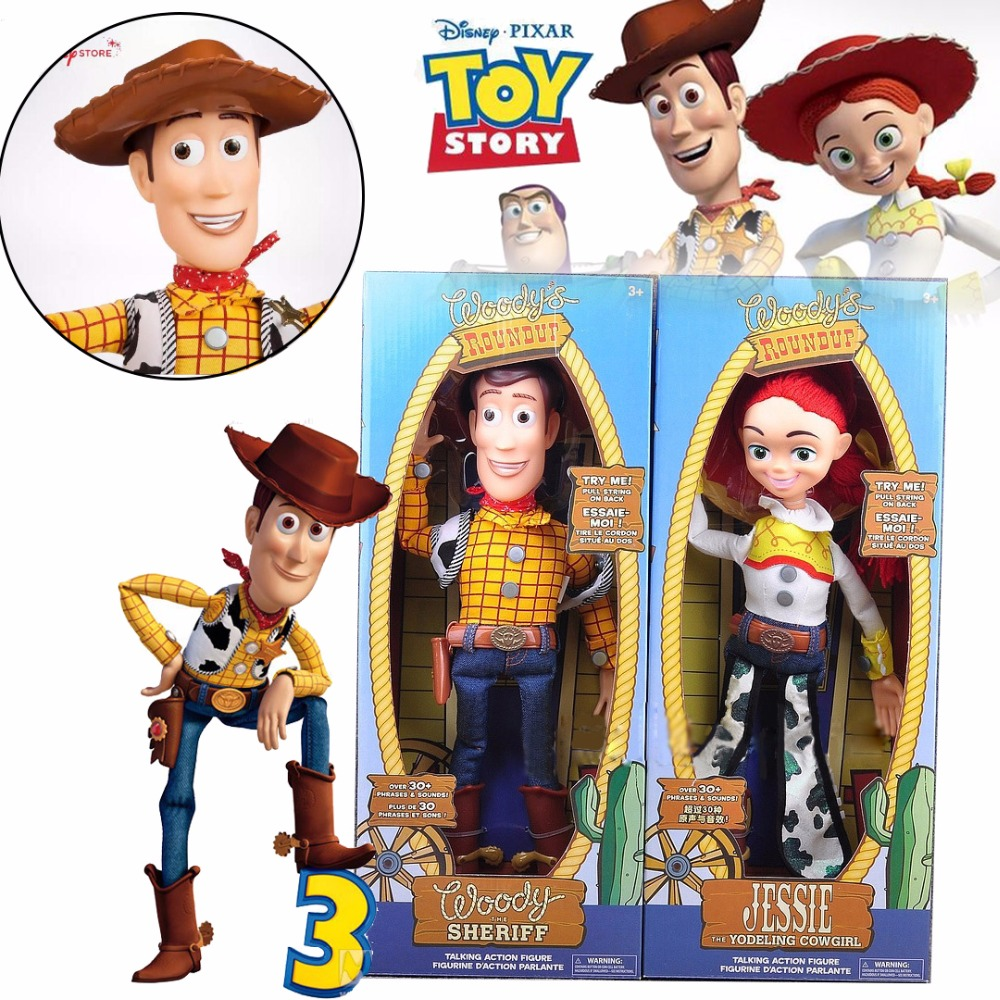 Action Sheriff Woody and Jessie Figurines Talking and Singing Puppets Disney Movie Toy Story Moddle with Box Gift for Kids ToysAction Sheriff Woody and Jessie Figurines Talking and Singing Puppets Disney Movie Toy Story Moddle with Box Gift for Kids Toys